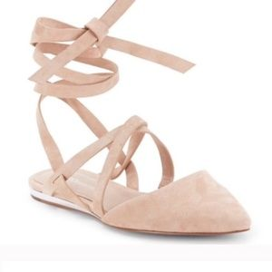 BCBGeneration Noel Lace-Up Ballet Flats in Blush